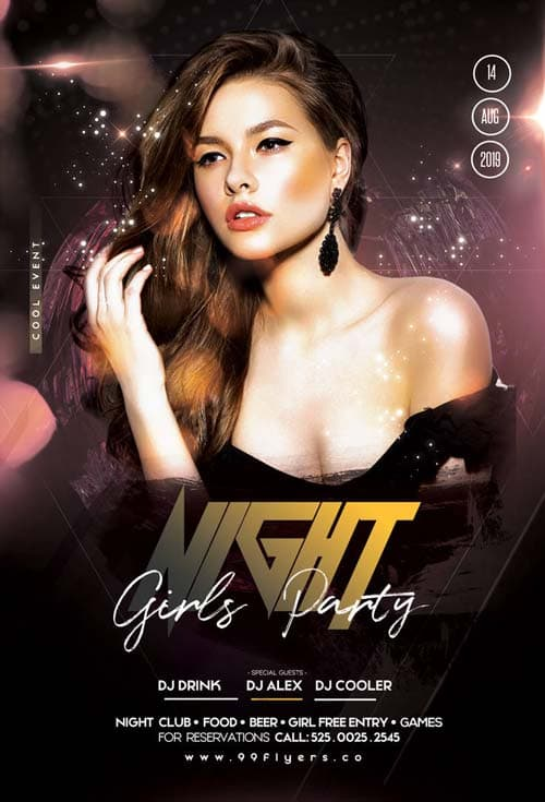 Girls Night Club Party Free Flyer Template