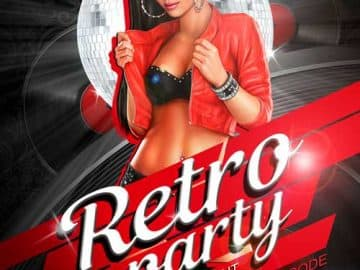Hot Retro Night Free Flyer Template
