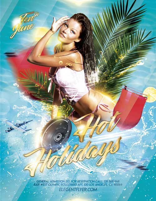 Hot Summer Holidays Free Flyer Template