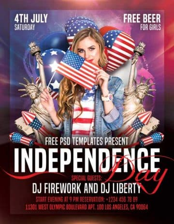 Independence Day Free Party PSD Flyer Template