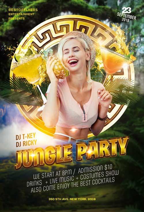 Jungle Party Free PSD Flyer Template - Freebie | FreePSDFlyer