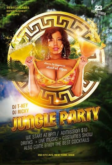 Jungle Party Free PSD Flyer Template