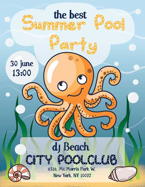 Kids Pool Party Free Flyer Template