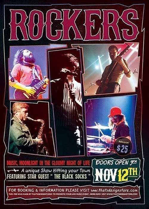 Live Rock Concert Free Flyer Template