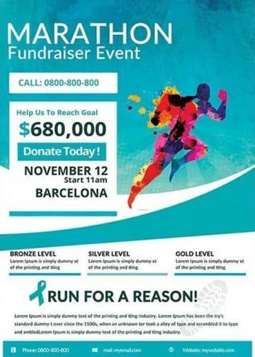 Marathon Fundraiser Run Free Flyer Template