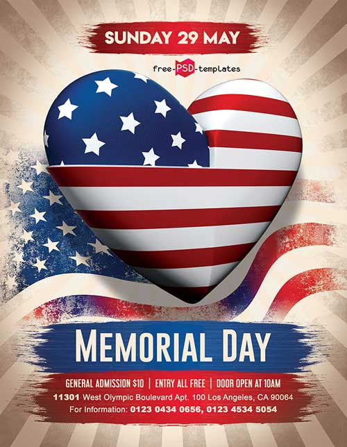 Memorial Day Free Party PSD Flyer Template