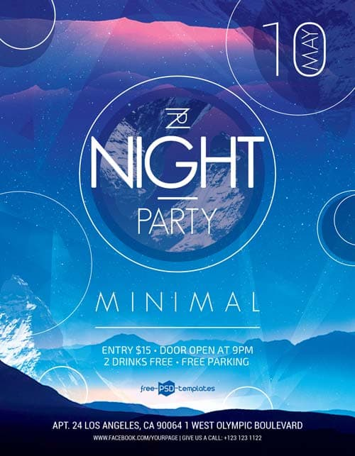 Minimal Night Party Free PSD Flyer Template