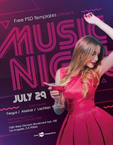 Music Night Party Free PSD Flyer Template