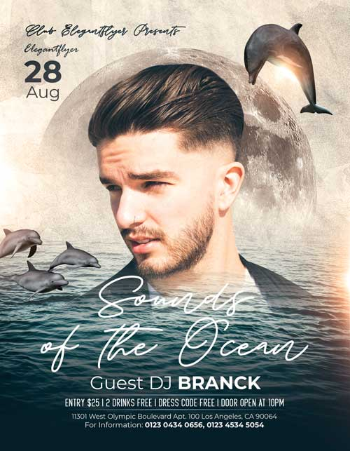 Ocean Sounds Free Flyer Template