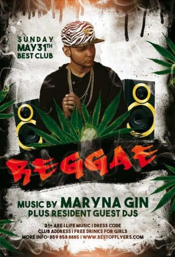 Reggae Party Free Flyer and Poster Template