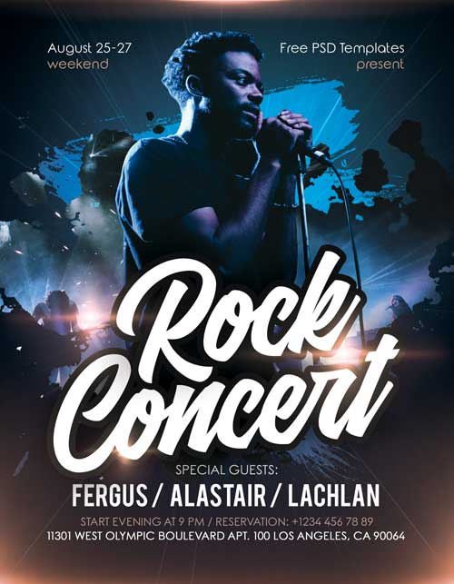Rock Concert Live Event Free Flyer Template