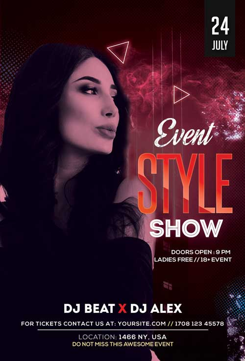 Style Show Free Party Flyer Template