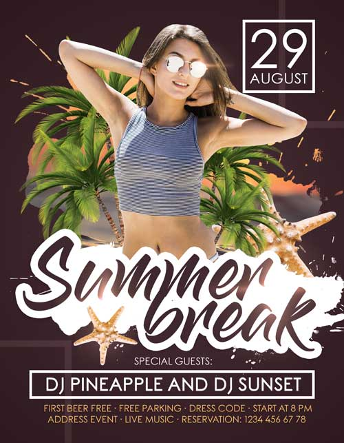 Summer Break Party Free Flyer Template