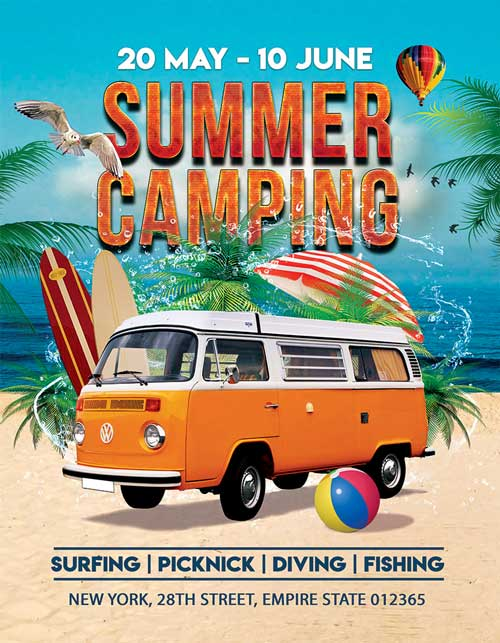Summer Camping Party Free Flyer PSD Template