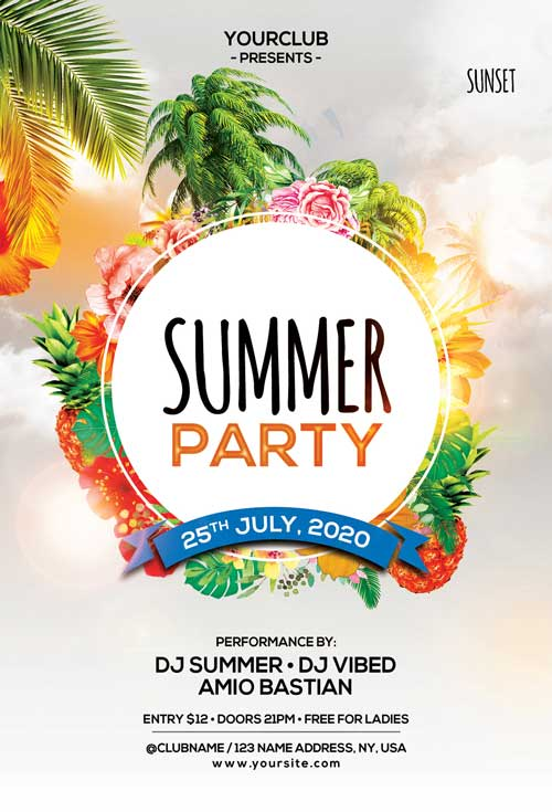 Summer Festival Free Party Flyer Template