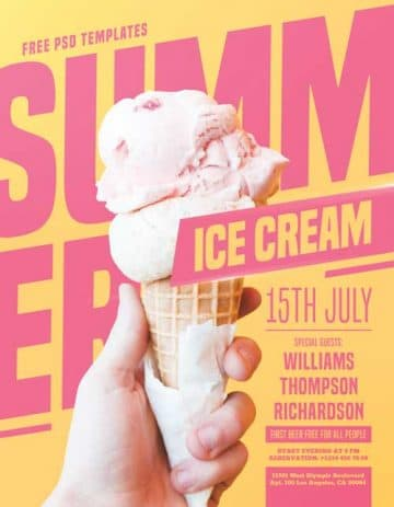 Summer Ice Cream Party Free PSD Flyer Template