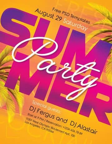 Summer Party Event Free Flyer Template