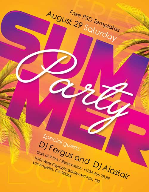 Summer Flyer Psd Template, Photoshop Invitation ... |Summer Event