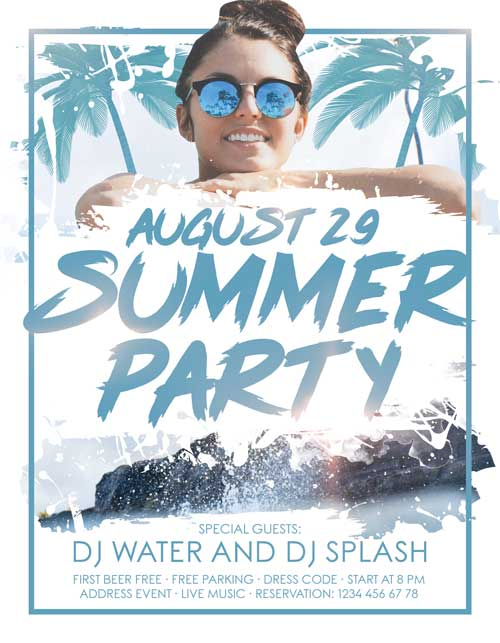 Summer Splash Party Free Flyer Template