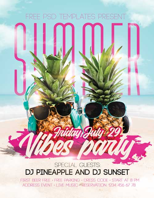 Summer Vibes Party Free PSD Flyer Template