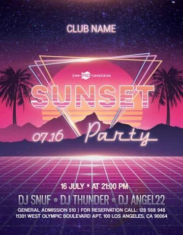 Sunset Party Free PSD Flyer Template