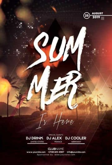 Sunset Vibes Summer Party Free Flyer Template