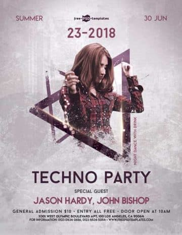 Techno Music Party Free PSD Flyer Template