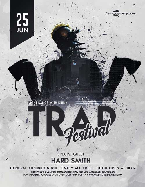 Trap Music Free PSD Flyer Template