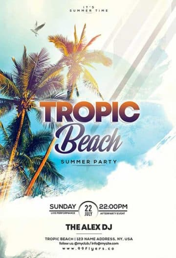Tropical Beach Free Flyer Template