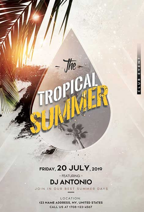 Tropical Beach Party Free Flyer Template