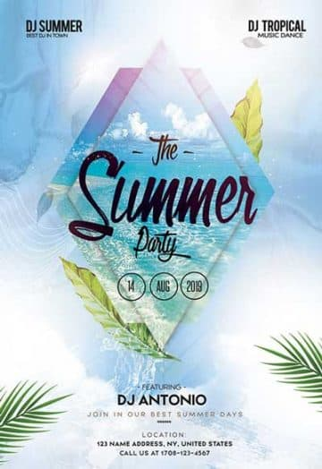 Tropical Leaves Party Free Flyer Template