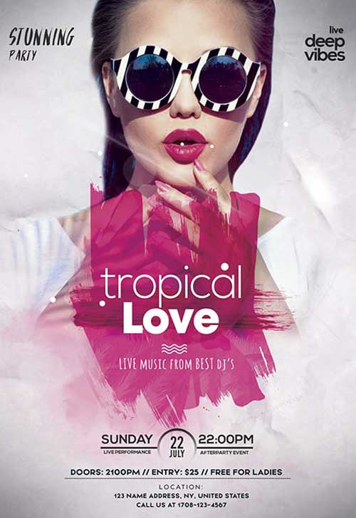 Tropical Love Party Free Flyer Template