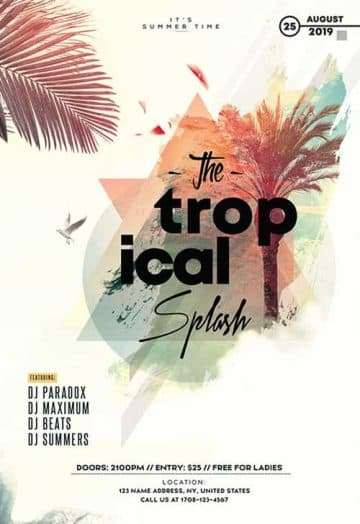 Tropical Splash Party Free Flyer Template