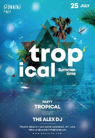 Tropical Summer Free Club Flyer Template