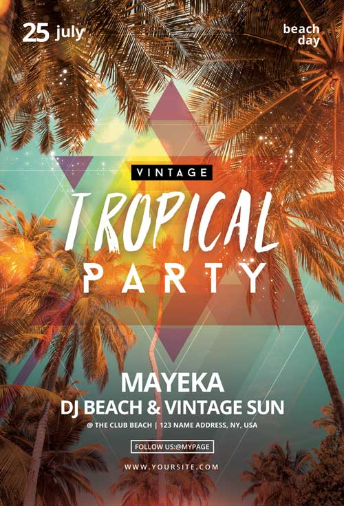 Vintage Tropical Party Free Flyer Template