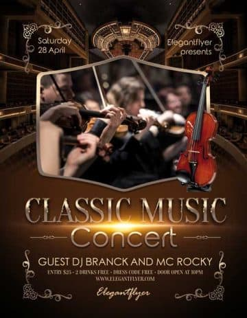 Classic Music Concert Free Flyer PSD Template