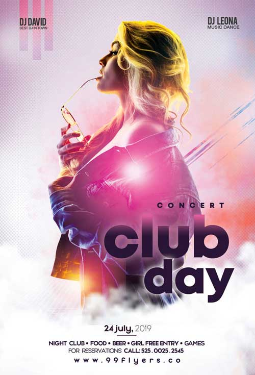 Club Day Party Free Flyer Template