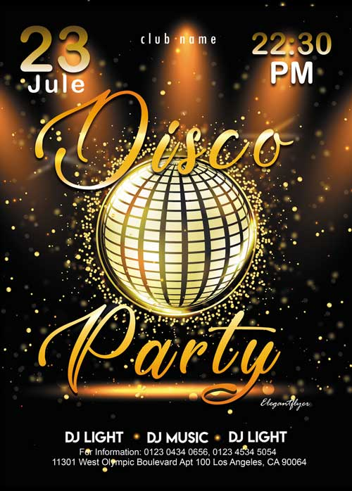 Disco Gold Party Free Flyer PSD Template