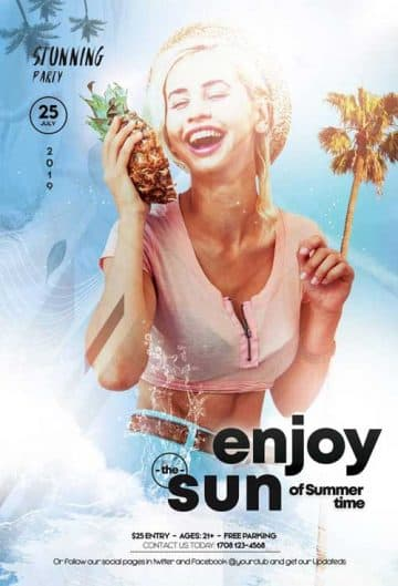 Enjoy The Sun Party Free Flyer Template