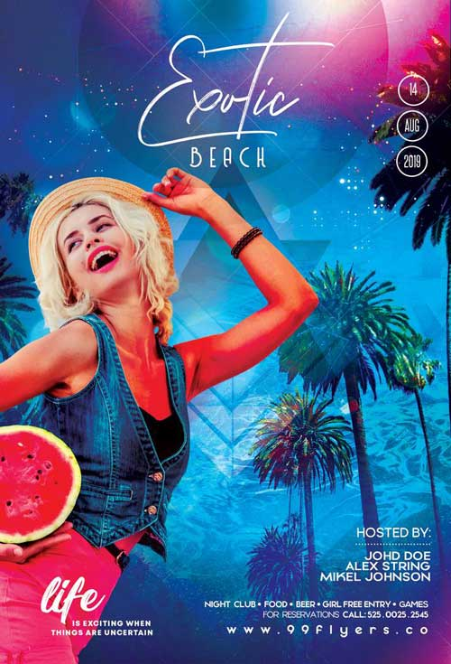Exotic Beach Party Free Flyer Template