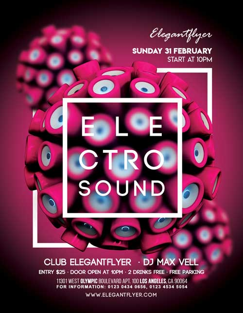 Free Electro Sound Music Party Flyer PSD Template
