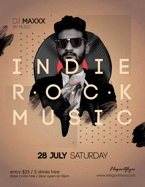 Indie Rock Music Free Flyer PSD Template