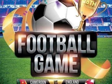 Soccer Game Free Flyer PSD Template