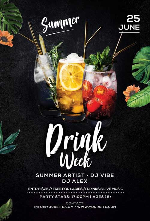 Special Summer Drinks Free Party Flyer Template