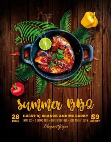Summer BBQ Free Flyer PSD Template