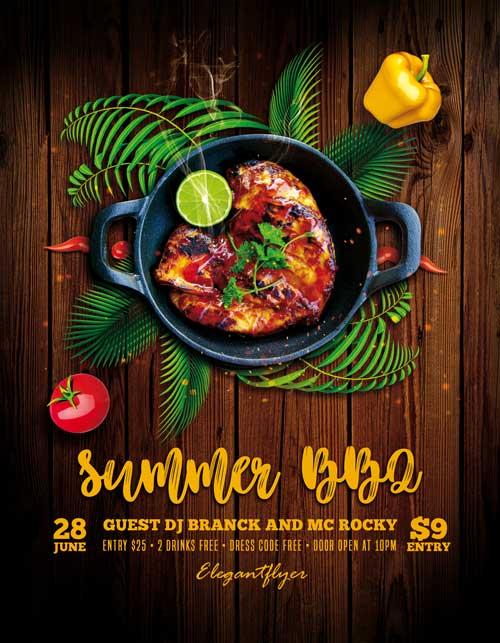 Summer BBQ Free Flyer PSD Template