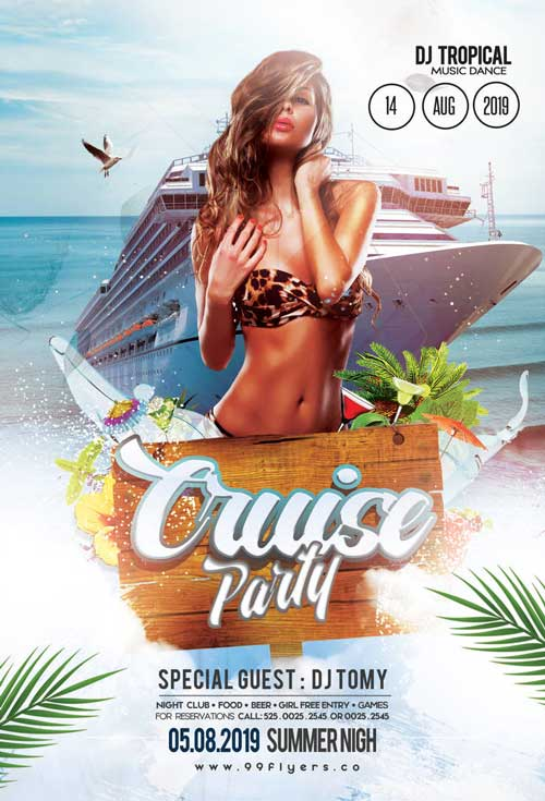 Summer Cruise Party Free Flyer Template