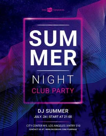 Summer Nightclub Party Free Flyer Template