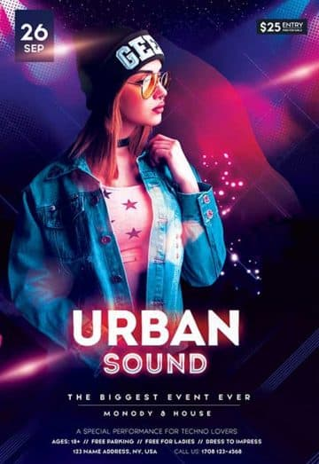 Urban DJ Party Free Flyer Template