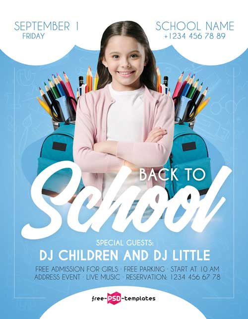 Back To School Free Kids Party Flyer Template
